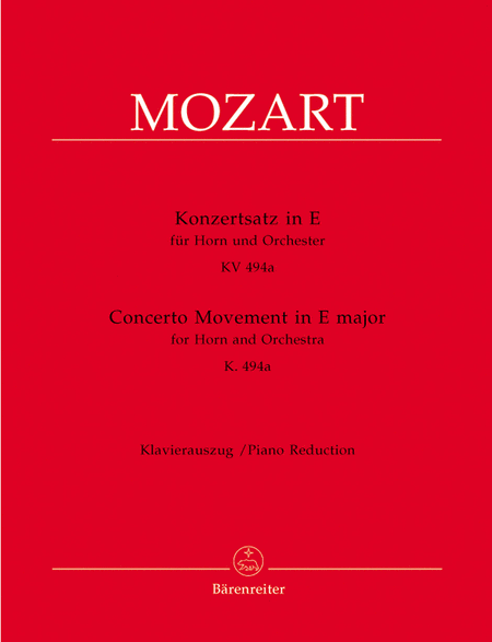 Konzertsatz for Horn and Orchestra E major KV 494a