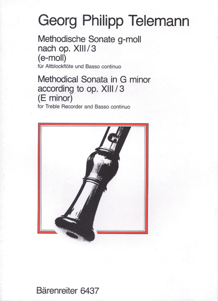 Methodical Sonata for Treble Recorder und Basso Continuo g minor TWV 41:e2