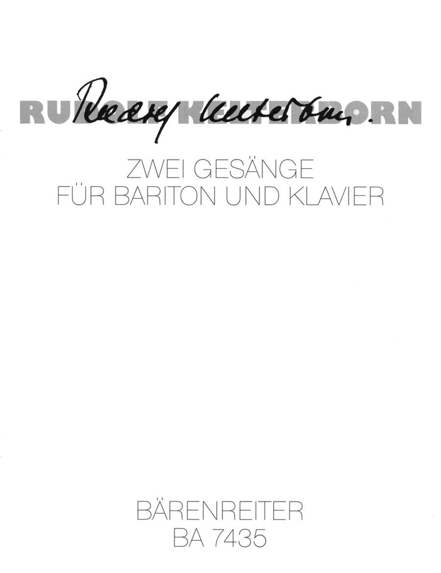 Zwei Gesange nach Gedichten von Erika Burkart