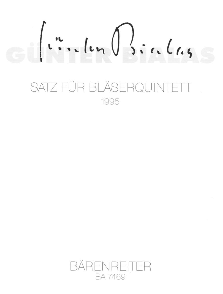 Satz for Wind Quintet op. posth.