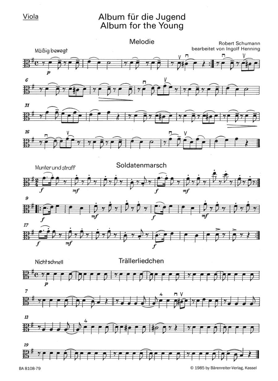 Album fur die Jugend. Auswahl for String Trio op. 68
