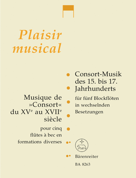 Musique de Consort du XVe au XVIIe siecle for five Recorders in variable instrumentation