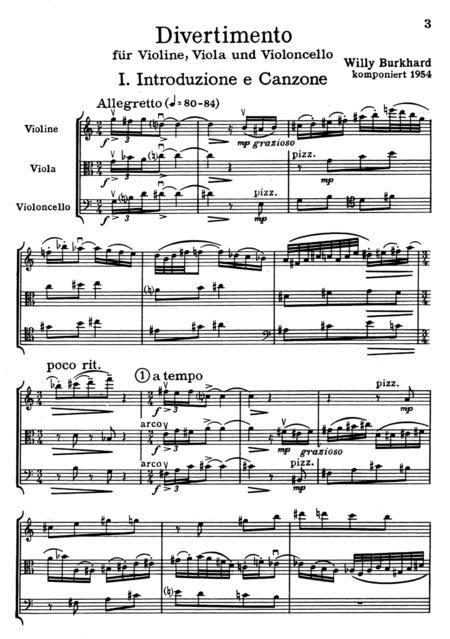 Divertimento for String Trio op. 95