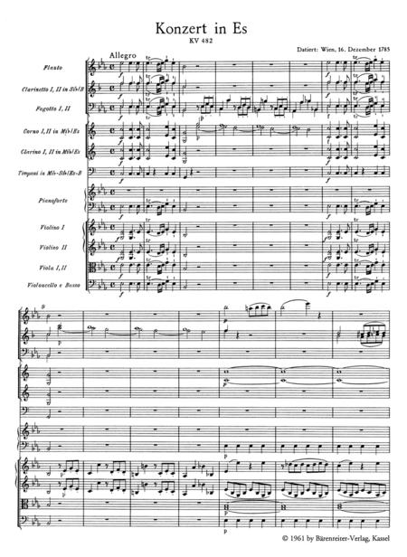 Concerto for Piano and Orchestra, No. 22 E flat major, KV 482