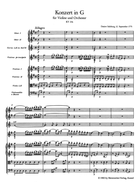Concerto for Violin and Orchestra, No. 3 G major, KV 216