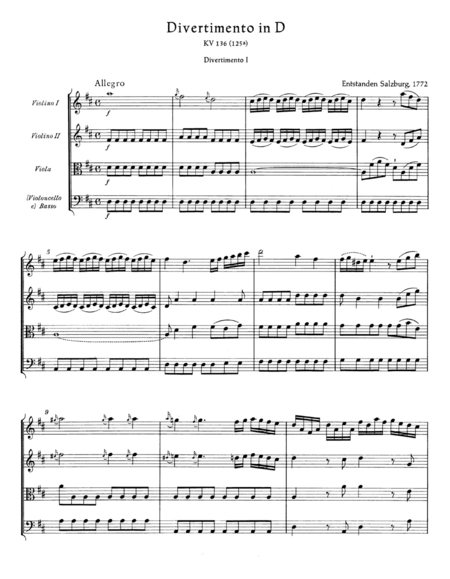 3 Divertimenti for String Quartet or String Orchestra