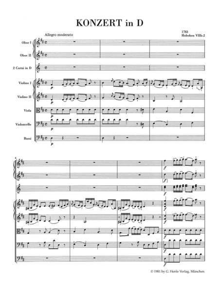 Konzert for Violoncello and Orchestra D major Hob.VIIb:2