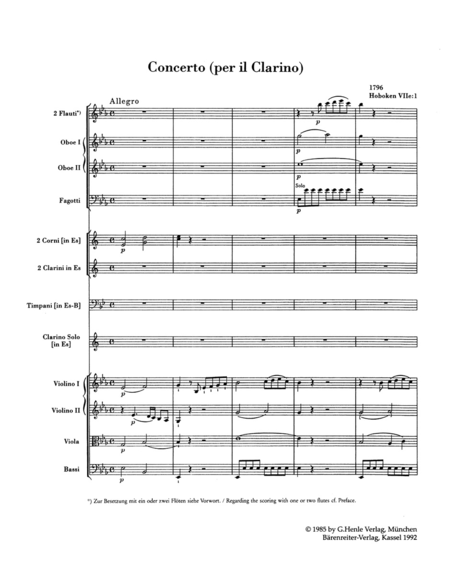 Konzert for Trumpet and Orchestra E flat major Hob.VIIe:1
