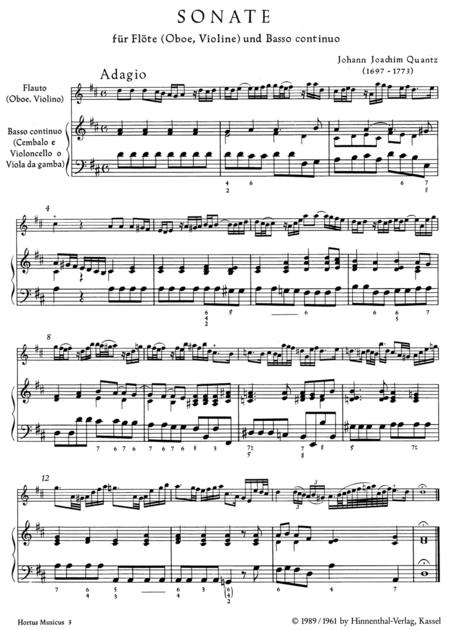 Sonate fur Flote (Oboe, Violine) und Basso continuo aus