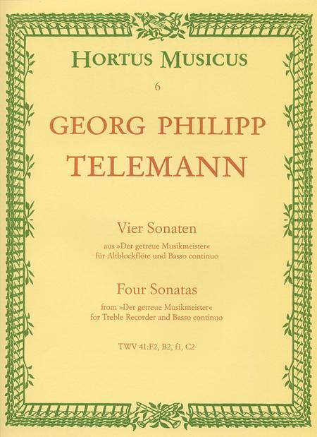 Four Sonatas for Treble Recorder and Basso continuo TWV 41:F2, B3, f1, C2