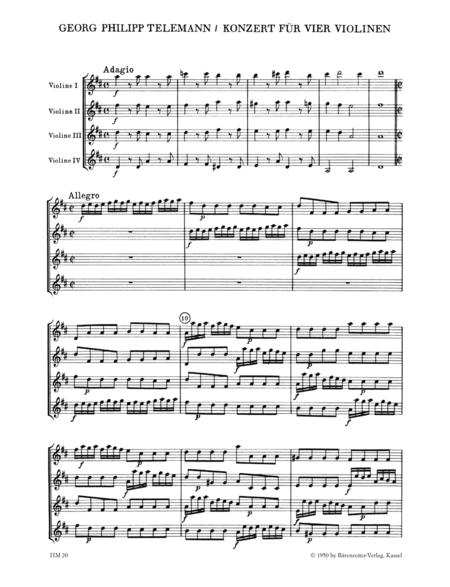Concerto fur 4 Violinen ohne Bass D major TWV 40:202