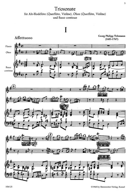 Triosonate for Treble Recorder (Flute, Violin), Oboe (Flute, Violin) and Basso continuo e minor TWV 42:e6