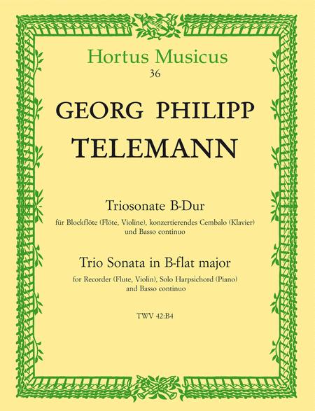 Triosonate for Recorder (Flute, Violin), Solo Harpsichord (Piano) and Basso continuo B flat major TWV 42:B4