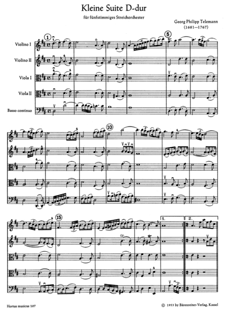 Kleine Suite for Strings and Basso continuo D major