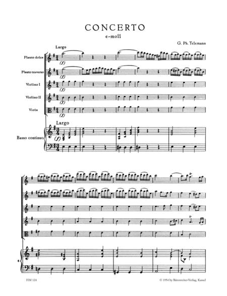 Concerto for Treble Recorder, Flute, Strings and Basso continuo e minor TWV 52:e1