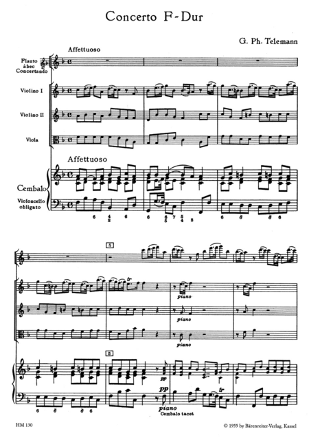 Concerto for Treble Recorder, Strings and Basso continuo F major