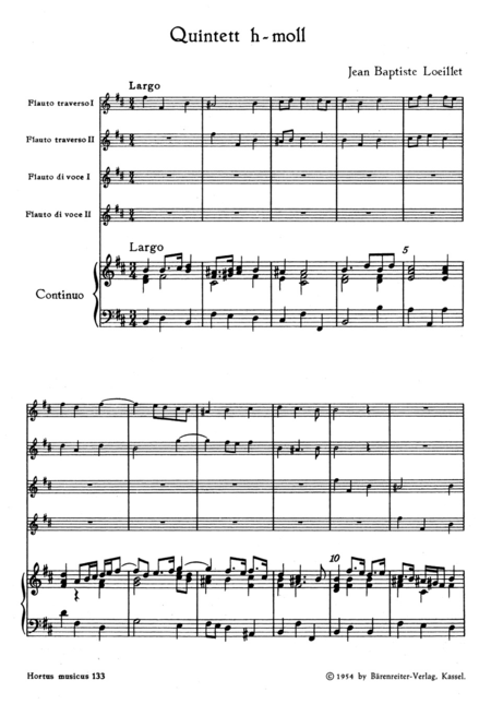 Quintett for 2 Flutes, 2 Recorders and Basso continuo b minor