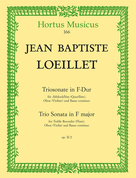 Triosonate for Treble Recorder (Flute), Oboe (Violin) and Basso continuo F major op. 2/2