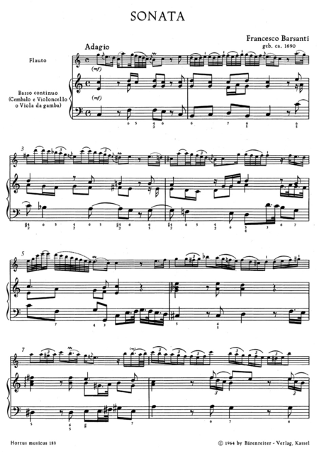 Sonate for Treble Recorder or Flute and Basso continuo C major