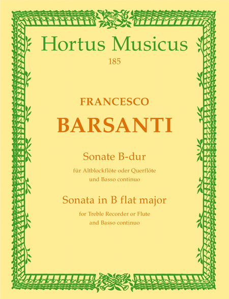 Sonate for Treble Recorder (Flute) and Basso continuo B flat major op. 1/6