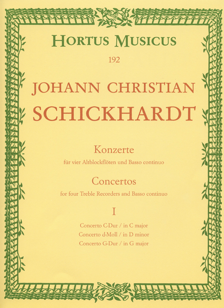 Sechs Konzerte for 4 Treble Recorders and Basso continuo