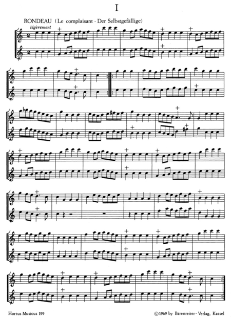 Sechs galante Duos for two equal melodic instruments, especially Treble Recorders