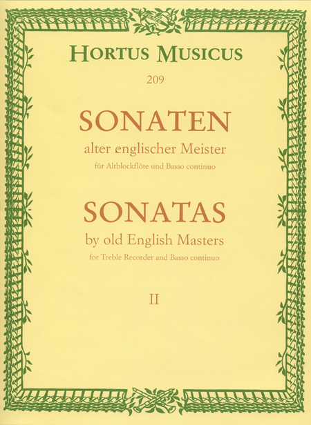 Sonaten alter englischer Meister for Treble Recorder and Basso continuo