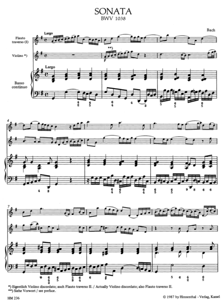 Triosonate for Flute, Violin (or two Flutes) and Basso continuo G major BWV 1038