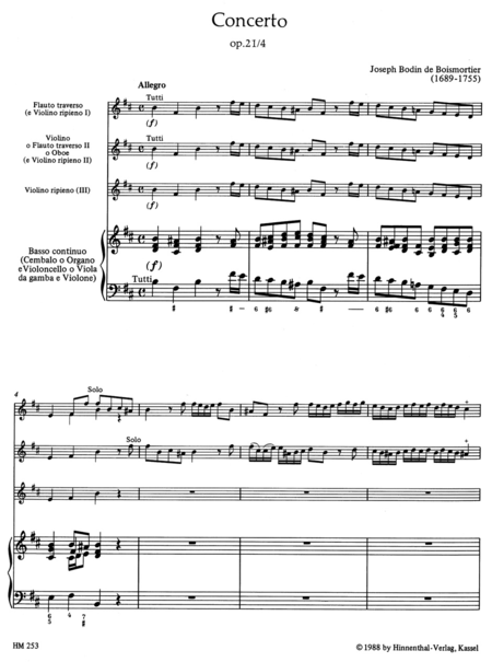 Concerto for 2 Solo Instruments (Flute, Violin or Flute, Oboe or 2 Flutes), 3 Violins and Basso continuo b minor op. 21/4