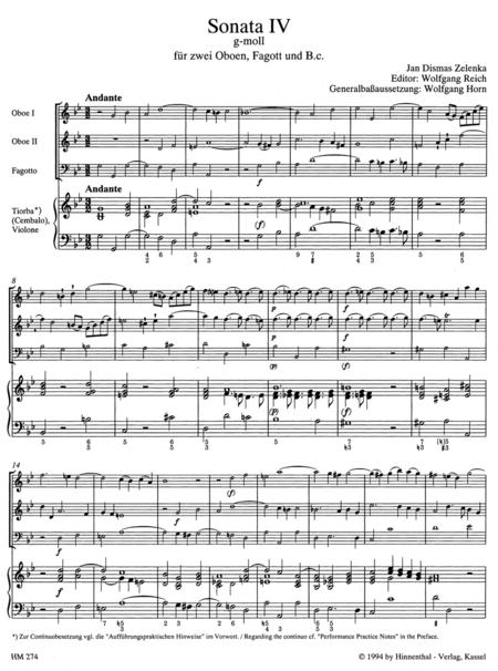 6 Sonaten fur 2 Oboen oder Violine und Oboe, Fagott (Violoncello) und Basso continuo. Heft 4 (Sonate IV) g minor ZWV 181/4