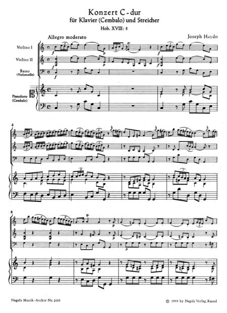 Konzert fur Klavier (Cembalo) und Streicher (ohne Viola) C major Hob XVIII:5