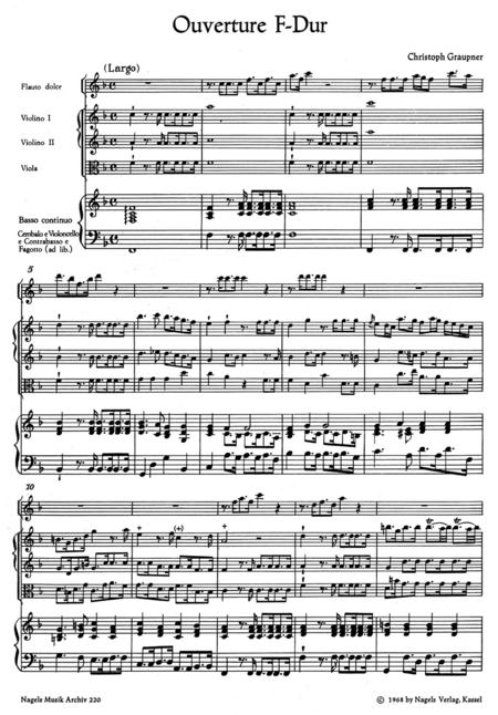 Ouverture fur Altblockflote, Streicher und Basso continuo F major