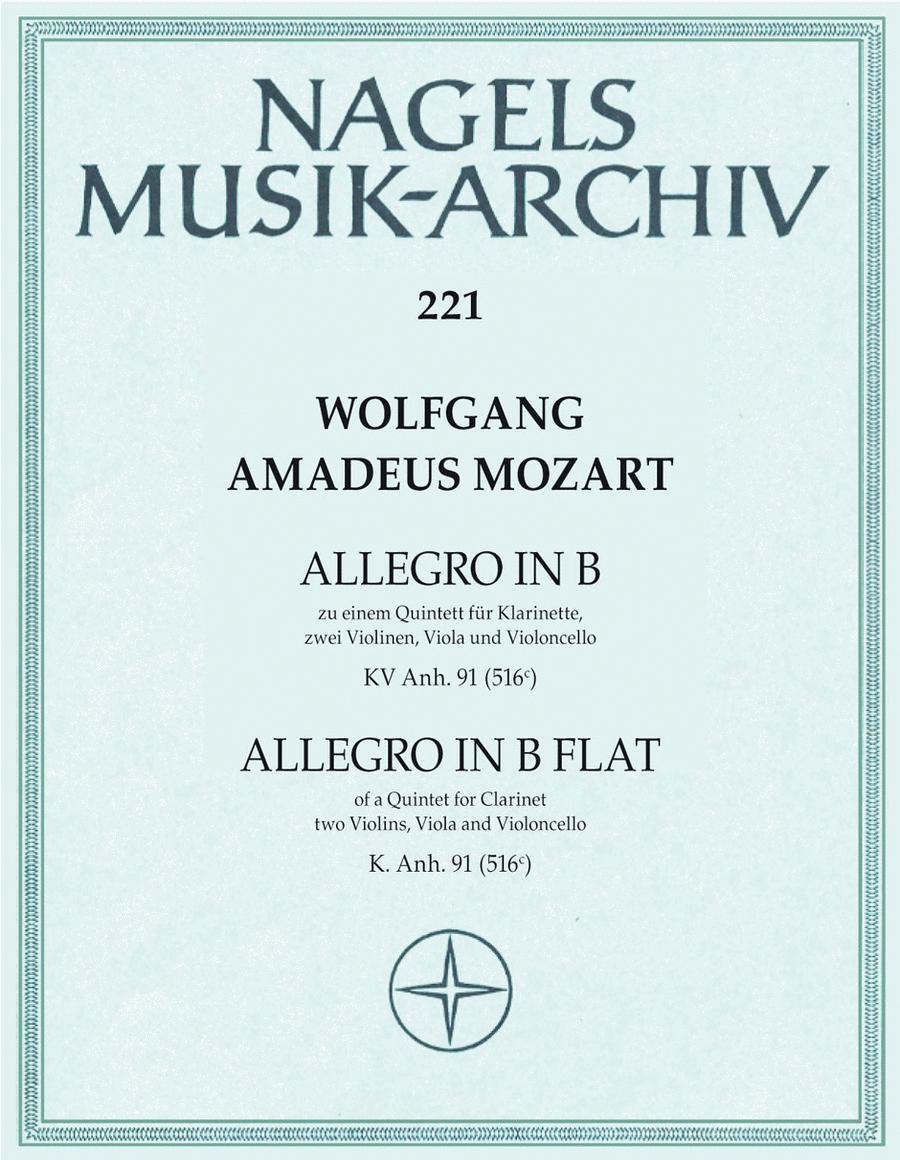 Allegro zu einem Quintett. Fragment mit Erganzung B flat major, KV Anh 91 (516 c)