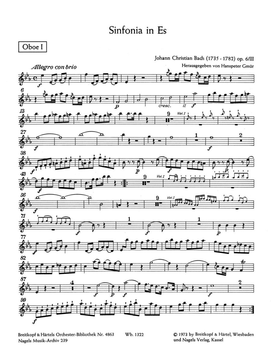 Sinfonia E flat major, Op. 6/3