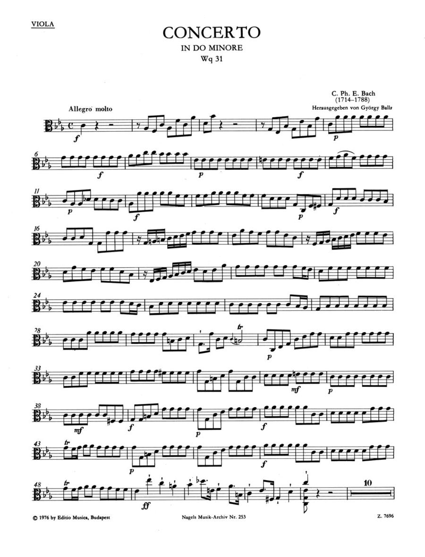 Concerto fur Cembalo (Klavier) und Streichorchester c minor Wq 31