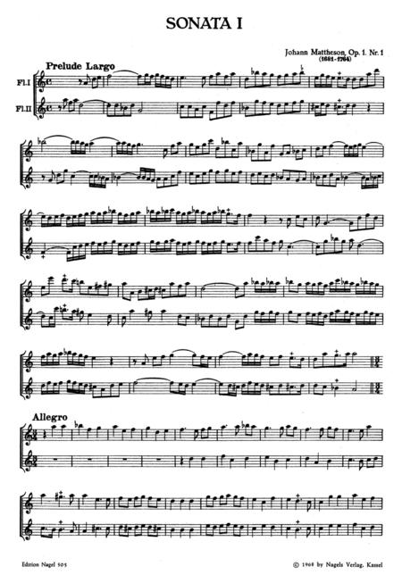 Vier Sonaten fur zwei Blockfloten