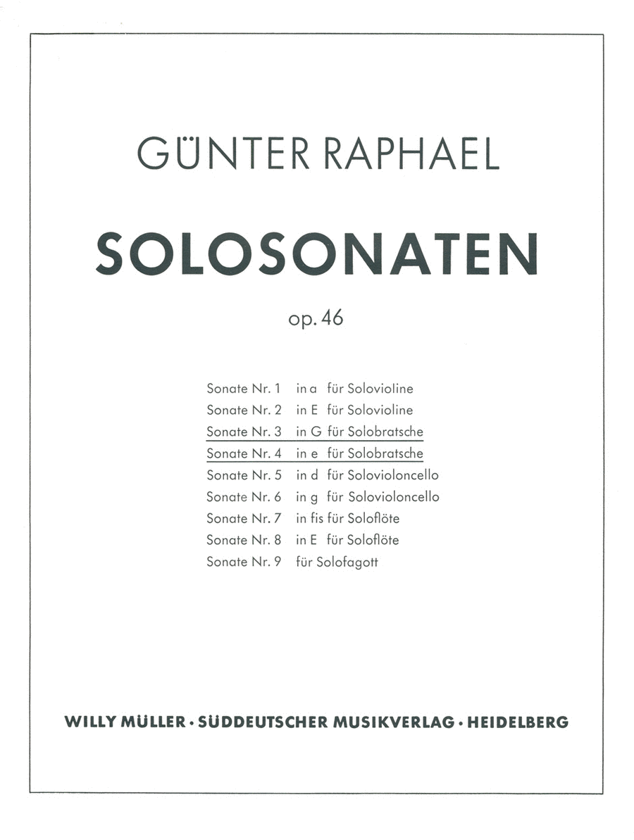 Zwei Solosonaten (1940/1946) G major, e minor, Op. 46,3/46,4