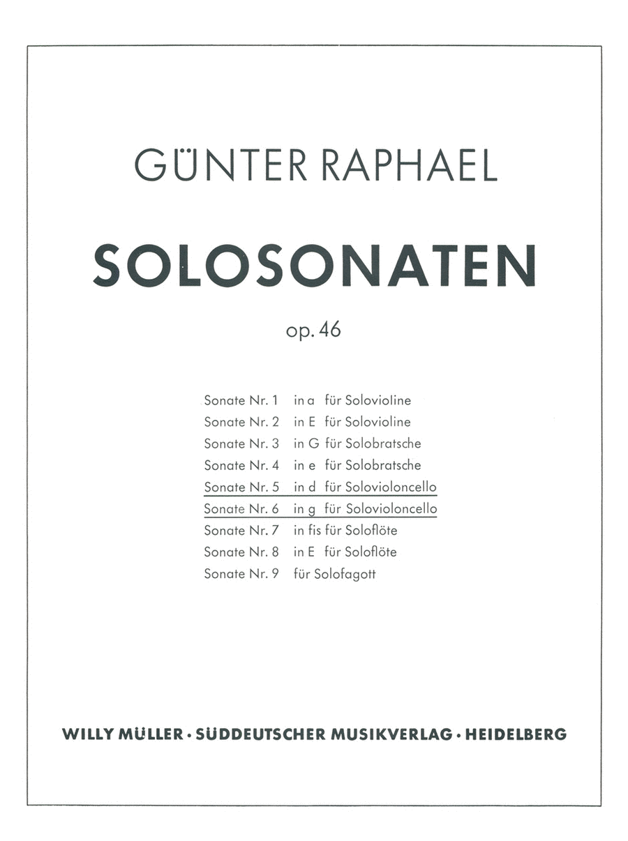 Zwei Solosonaten (1946) d minor, g minor, Op. 46,5/46,6