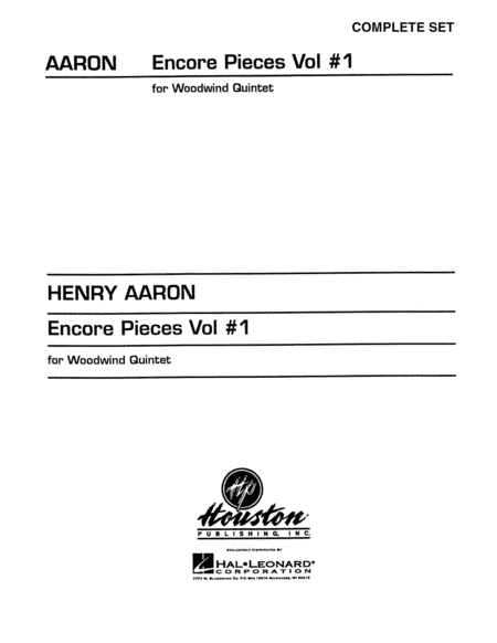 Encore Pieces For Woodwind Quintet, Volume 1 - Complete Set