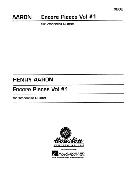 Encore Pieces for Woodwind Quintet, Volume 1 - Oboe