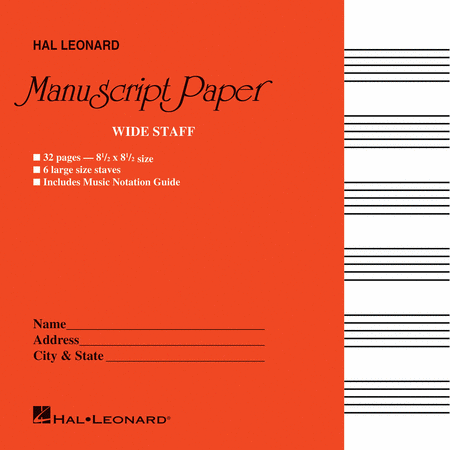 Wide Staff Manuscript Paper (Red Cover)