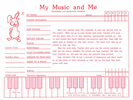 Teaching Aids, My Music & Me - Primary Manuscript and Assignment Diary