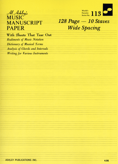 Manuscript Paper Wide Spacing 10 Staves