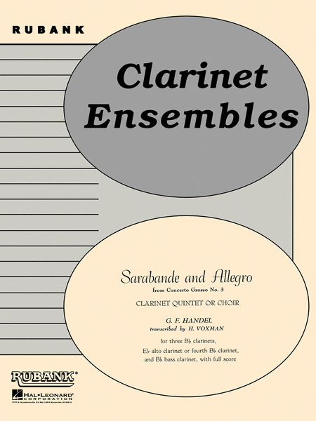 Sarabande and Allegro from Concerto Grosso No 3 - Clarinet Quintets Or Choirs With Score