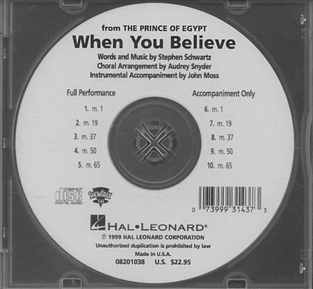 When You Believe (from The Prince of Egypt) - ShowTrax CD