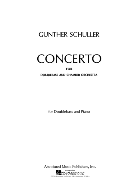 Concerto For Double Bass - Double Bass Part