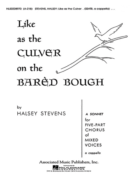 Like As The Culver On The Bared Bough A Cappella
