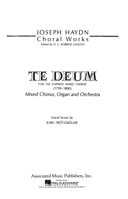 Te Deum for the Empress Maria Therese