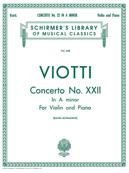 Violin Concerto No. 22 In A Minor - Violin/Piano