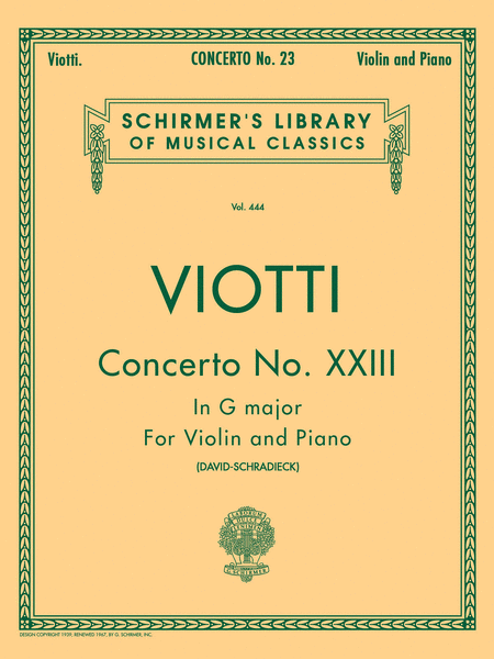 Violin Concerto No. 23 In G Major - Violin/Piano